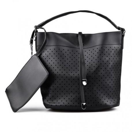 černá dírkovaná kabelka TENDENZ FFS17-006