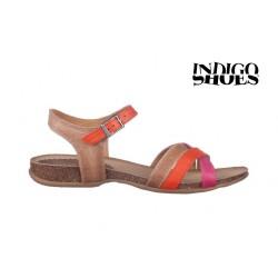 oranžovo růžovo hnedé kožené sandály INDIGO Shoes