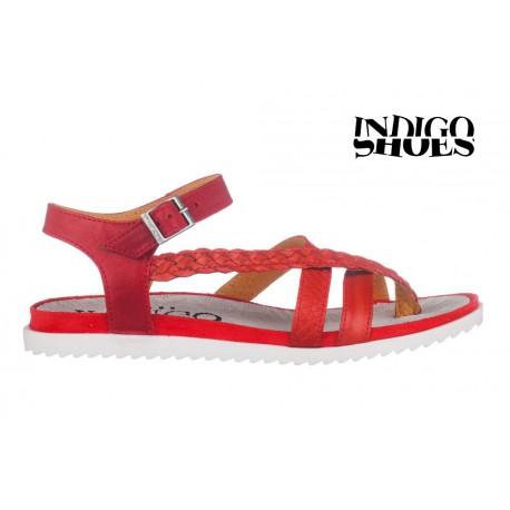 červené kožené sandály INDIGO Shoes 15105