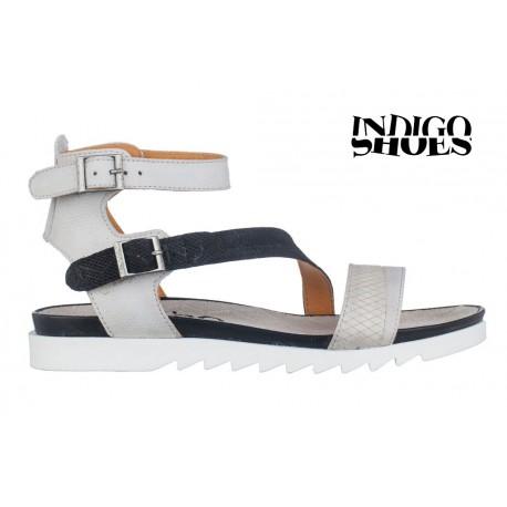 bílo černé kožené sandály INDIGO Shoes 1686