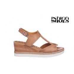 béžové kožené sandály na klínu INDIGO Shoes 1592