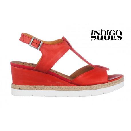 červené kožené sandály na klínu INDIGO Shoes 1592