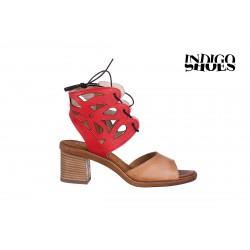 béžovo červené elegantní sandály na podpatku TENDENZ 1758