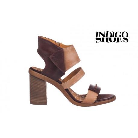 béžovo hnědé elegantní sandály na podpatku TENDENZ 1754