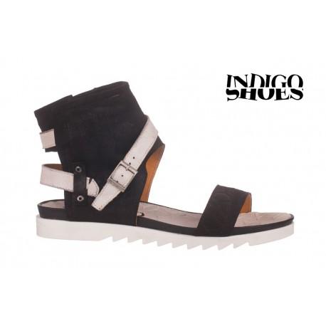 černo bílé kožené sandály INDIGO Shoes 1684