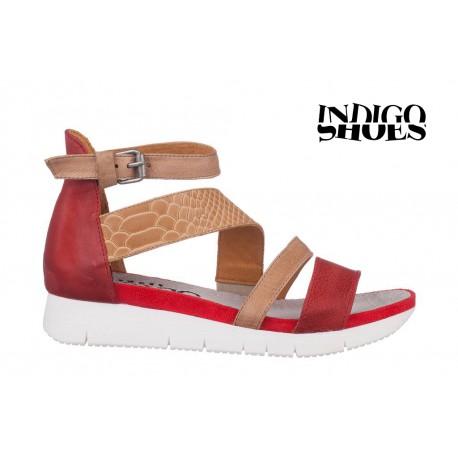 červeno béžové kožené sandály INDIGO Shoes 1767