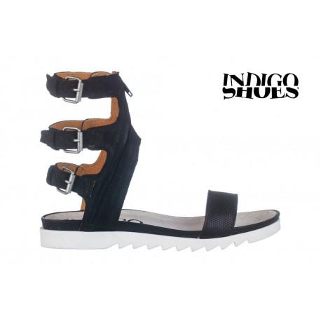 černé vysoké páskové gladiatorské kožené sandály INDIGO Shoes 1753