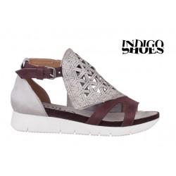 bílo hnědé kožené sandály INDIGO Shoes 1760