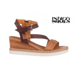 béžovo hnědé kožené sandály na klínu INDIGO Shoes 1761