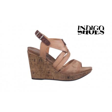béžové kožené sandály na vysokém klínu INDIGO Shoes 1682