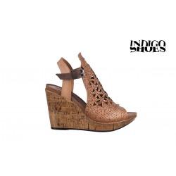 béžové kožené sandály na vysokém klínu INDIGO Shoes 1770