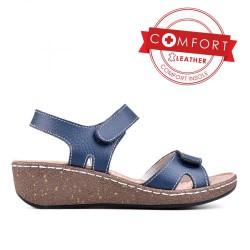 tmavě modré kožené sandály TENDENZ SSS17-025