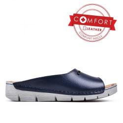 tmavě modré kožené pantofle TENDENZ SSS17-020