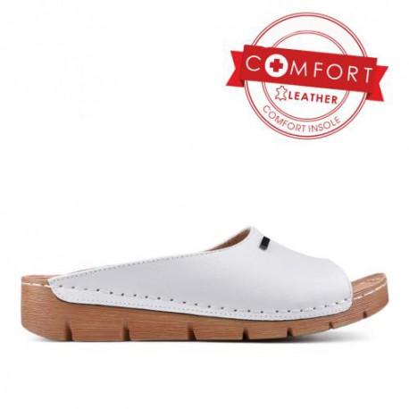 bílé kožené pantofle TENDENZ SSS17-020