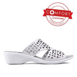 bílé kožené dírkované pantofle TENDENZ SSS17-002