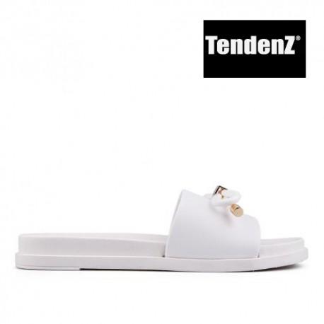 bílé gumové pantofle s mašlí TENDENZ PTS17-015