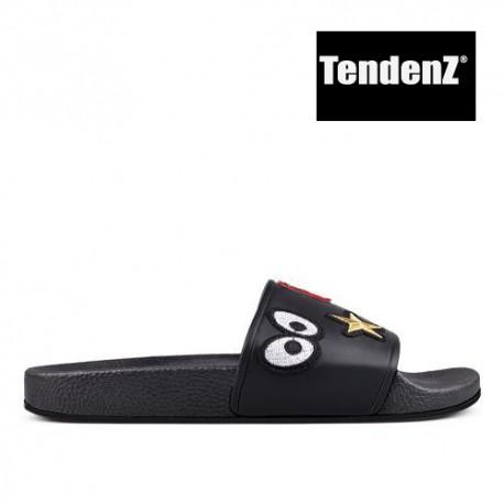 černé gumové pantofle s nášivkami TENDENZ PTS17-013
