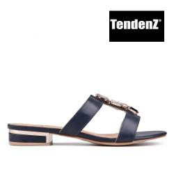 tmavě modré elegantní pantofle s kamínky TENDENZ PTS17-017