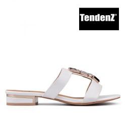 bílé elegantní pantofle s kamínky TENDENZ CRS17-070