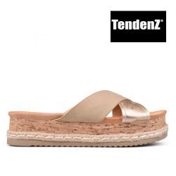 zlato béžové pantofle na platformě TENDENZ TAS17-043