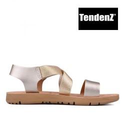 zlaté sandály s pružnými gumičkami TENDENZ VIS17-011