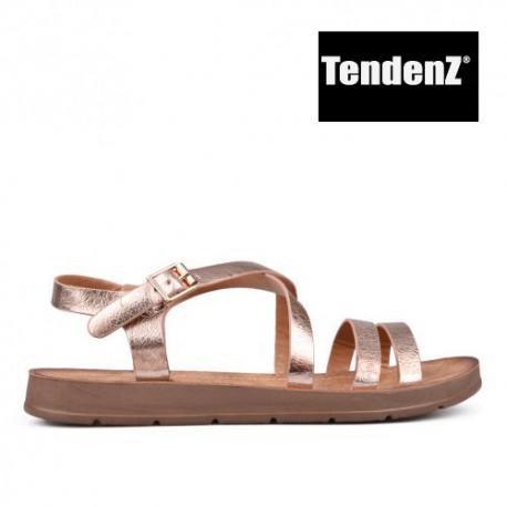 bronzové lesklé sandály TENDENZ CRS17-066
