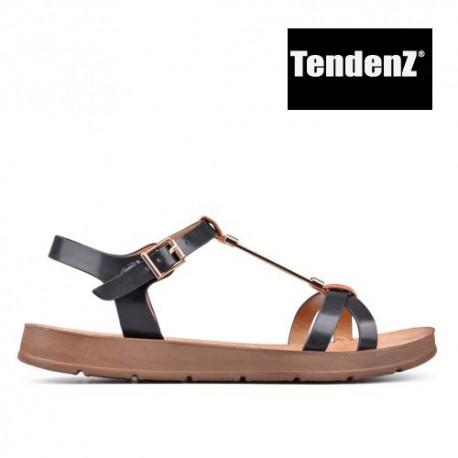 černo hnědé sandály TENDENZ CRS17-062