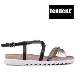 černo bronzové sandály se štrasem TENDENZ CRS17-023