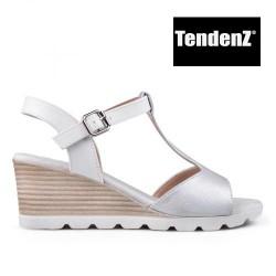 stříbrné sandály na klínu TENDENZ TAS17-013