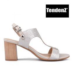 béžové perleťové elegantní sandály na podpatku TENDENZ CRS17-060