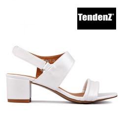 smetanové elegantní páskové sandály na podpatku TENDENZ CRS17-056