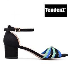 černo modro zelené páskové sandály na podpatku TENDENZ