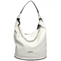 bílá kabelka s crocco vzorem s řetízkem GROSSO S633