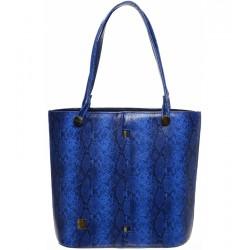 modrá kabelka s hadím vzorem GROSSO S672