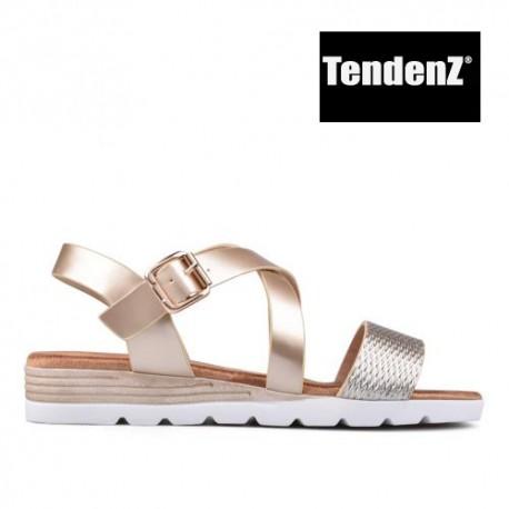 zlaté páskové sandály TENDENZ TAS17-019