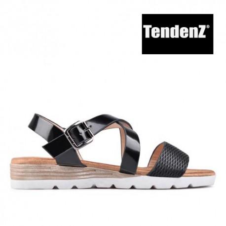 černé páskové sandály TENDENZ TAS17-019
