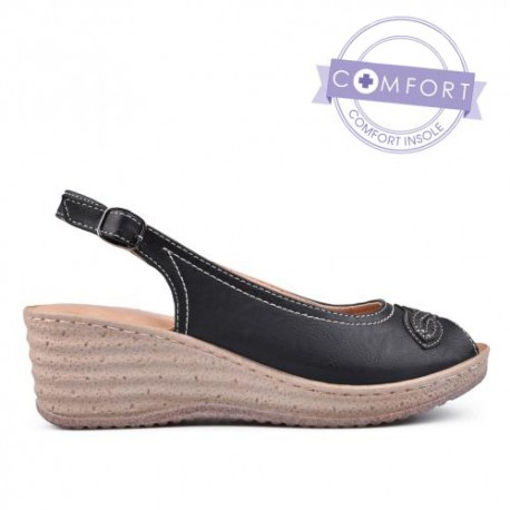 černé sandály lodičky na klínu TENDENZ TAS17-028