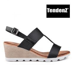 černé páskové sandály na klínu TENDENZ TAS17-014