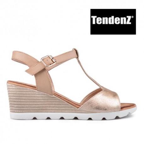zlaté páskové sandály na klínu TENDENZ TAS17-013