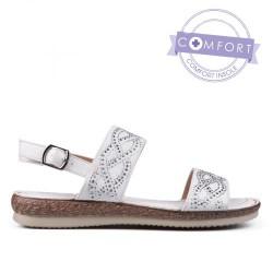 bílé páskové sandály se štrasem TENDENZ TAS17-025