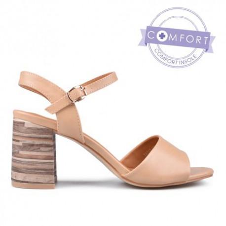 béžové elegantní sandály na podpatku TENDENZ TAS17-023