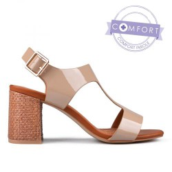 béžové lakované elegantní sandály na podpatku TENDENZ TAS17-022