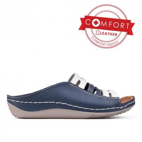 modro bílé kožené pohodlné pantofle TENDENZ SSS17-027
