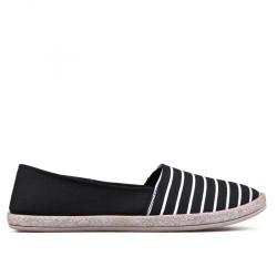 černo bílé pruhované textilní mokasíny TENDENZ VSS17-002