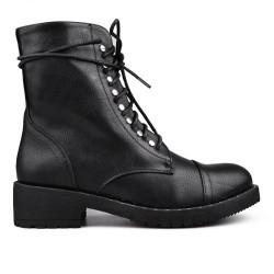 černé šněrovací polokozačky kanady vojenské boty TENDENZ
