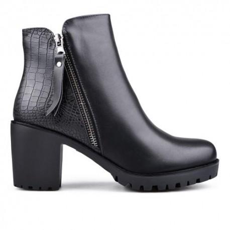 černá elegantní kotníková obuv na podpatku TENDENZ REW17-009