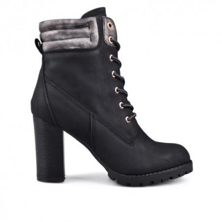 černá elegantní kotníková obuv na podpatku TENDENZ VSW17-035
