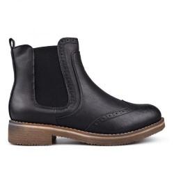 černá kotníková obuv s gumovou vsadkou - chelsea boots - TENDENZ