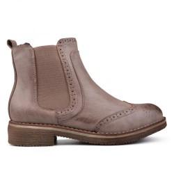 béžovo hnědá kotníková obuv s gumovou vsadkou - chelsea boots - TENDENZ