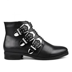 černá kotníková obuv s přeskami a cvoky TENDENZ MIW17-029